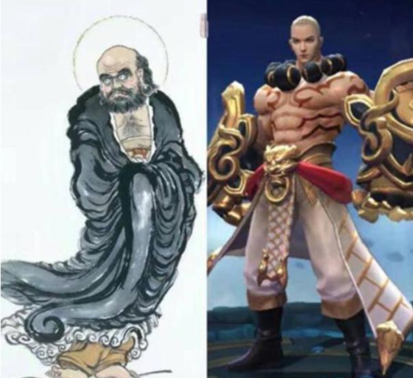 王者荣耀游戏英雄与历史原型对比:达摩变帅了不止一点点;墨子的造型差太远!