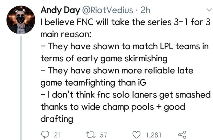 LOL欧美赛区:我们坚信FNC 3比0 IG的三个原因