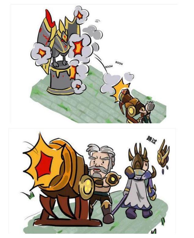 王者荣耀漫画趣事:黄忠想要碰瓷杨戬,结果防御塔倒霉!